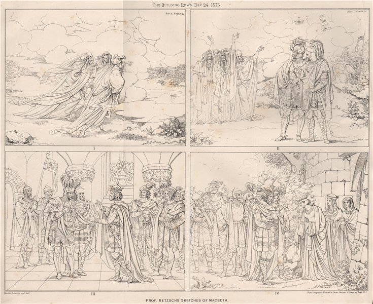 Prof. Retzsch's sketches of Macbeth. Shakespeare 1875 old antique print
