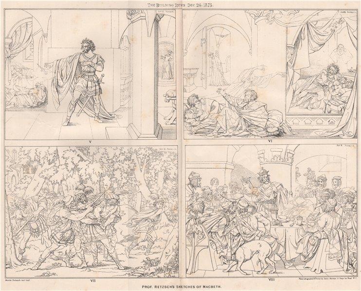 Associate Product Prof. Retzsch's sketches of Macbeth. Shakespeare (2) 1875 old antique print