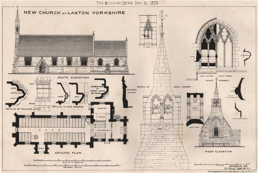 Associate Product New Church at Laxton Yorkshire  1875 old antique vintage print picture