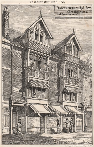 Business Premises, High Street, Chelmsford, Essex; Fred Chancellor 1876 print