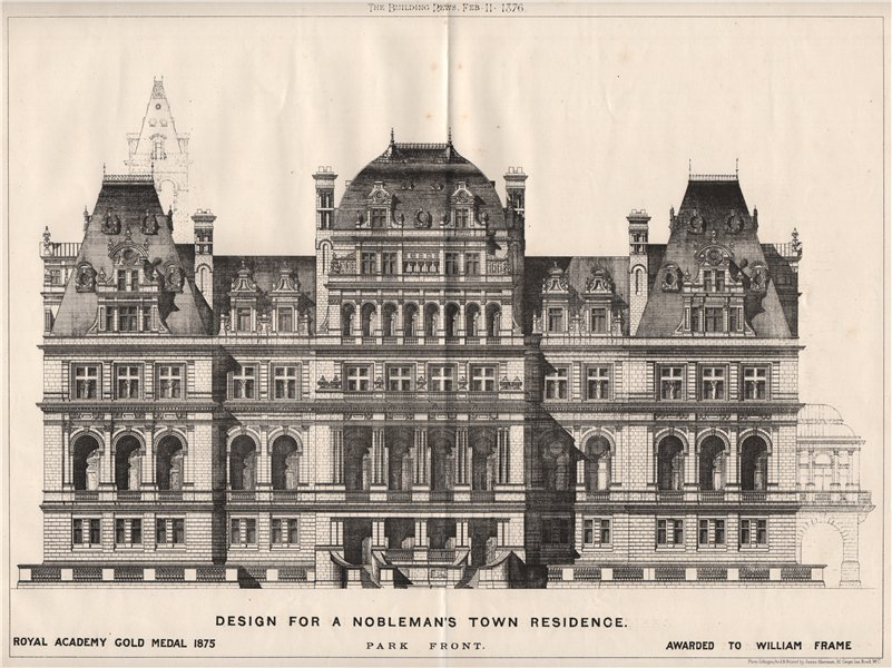 Associate Product Nobleman's town residence Park front Royal Academy Medal. William Frame 1876