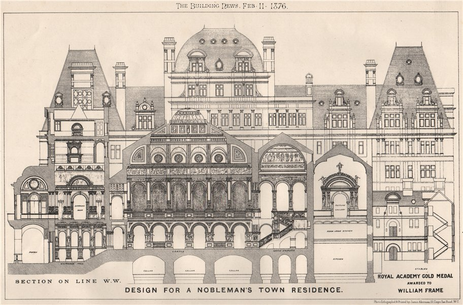Associate Product Nobleman's town residence section. Royal Academy Medal. William Frame 1876