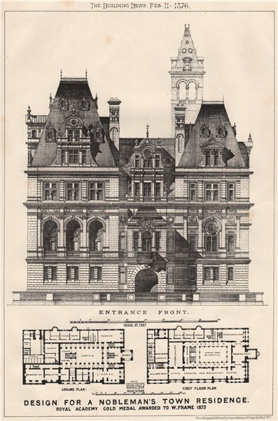 Associate Product Nobleman's town residence. Royal Academy Gold Medal. W. Frame 1875 1876 print