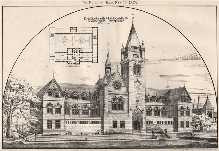 Associate Product Design for a Natural History Museum by H. Avern, Architect 1876 old print