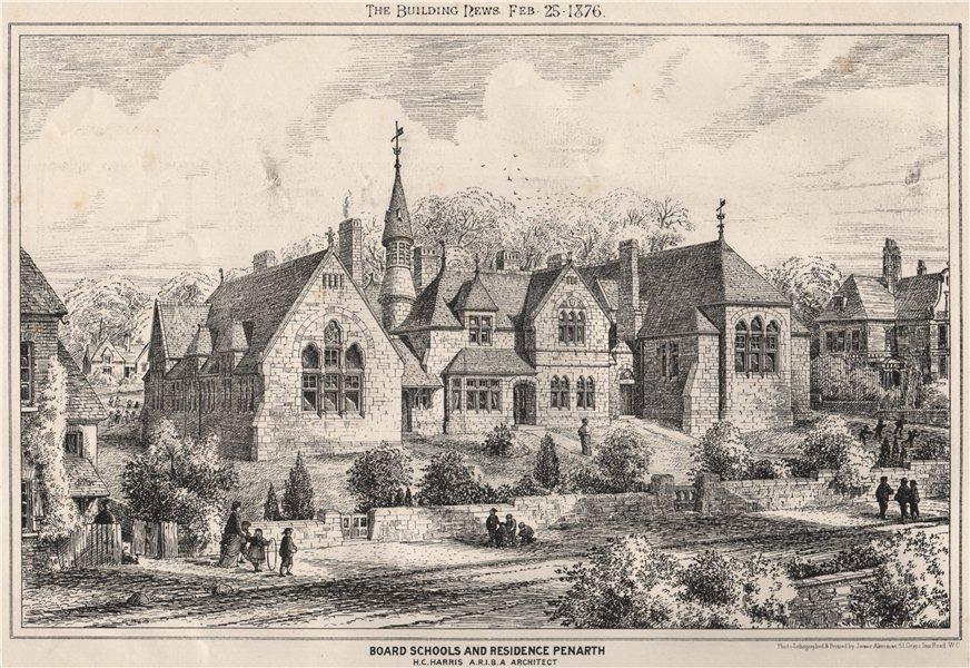 Associate Product Board Schools & residence, Penarth; H.C. Harris Architect. Wales 1876 print