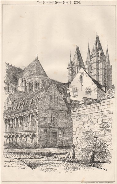 Associate Product Noyon Cathedral library. Tower roofs are shown too steep. Oise 1875 old print