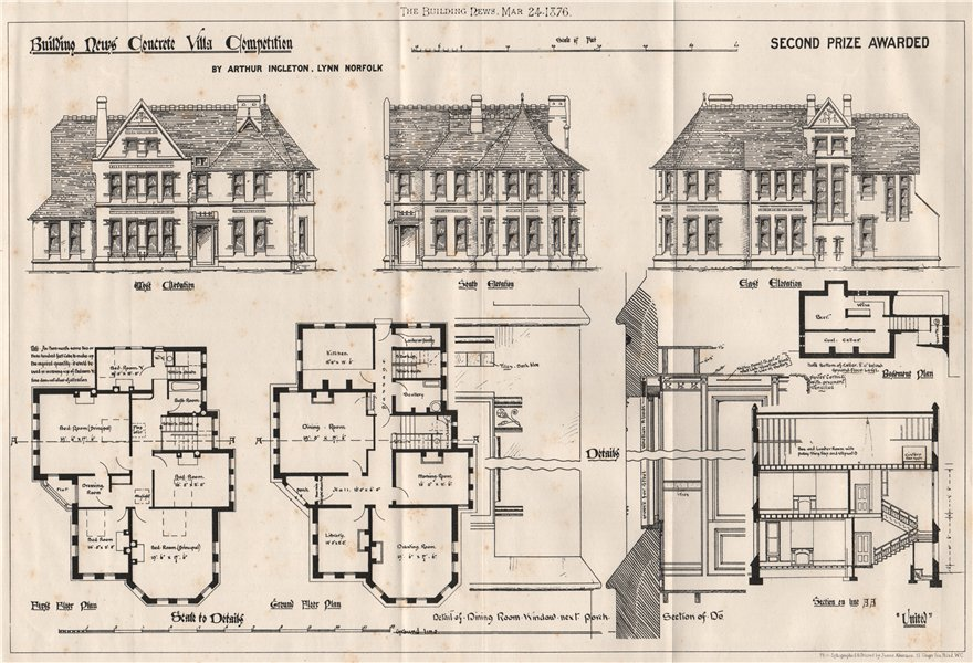Associate Product Building News villa competition second prize Arthur Ingleton, Lynn, Norfolk 1876