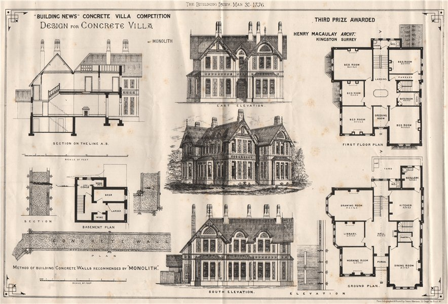 Associate Product Building News Concrete Villa competition Third Prize. Henry Macaulay 1876