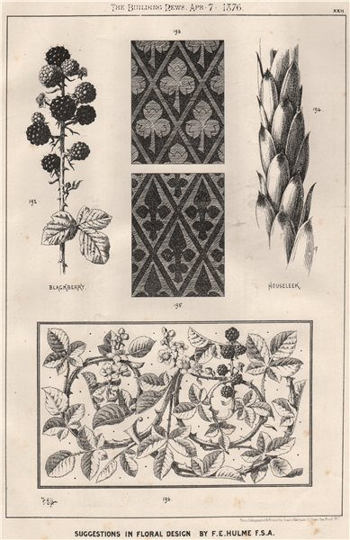 Associate Product Suggestions in Floral; Design by F.E. Hulme F.S.A.. Decorative (20) 1876 print