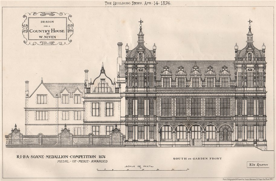 Associate Product Country house design by W. Niven; RIBA Soane Medallion competition 1876 1876