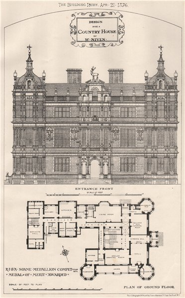 Associate Product Country house design by W. Niven; RIBA Soane Medallion competition 1876 (2) 1876