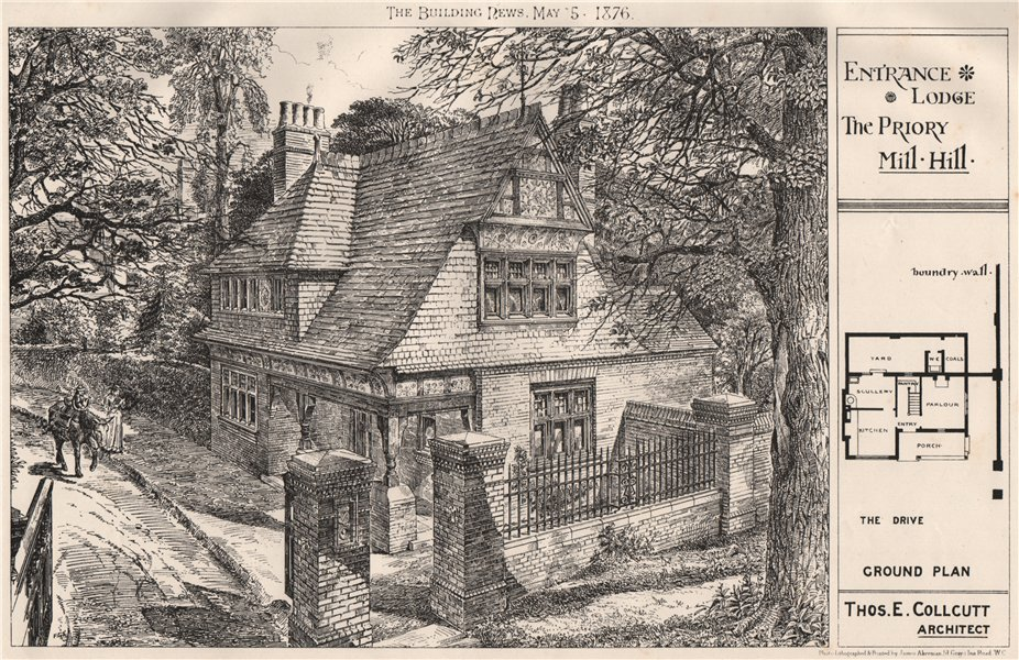 Associate Product Entrance Lodge, The Priory, Mill Hill; Thos E. Collcutt, Architect 1876 print