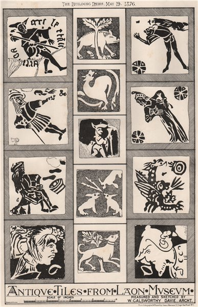 Associate Product Antique tiles from Laon Museum, by W. Galsworthy Davie, Architect. Aisne 1876
