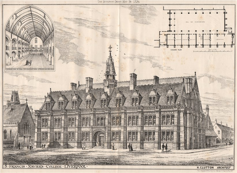 Associate Product S. Francis, Xavier's College, Liverpool; H. Clutton, Architect 1876 old print