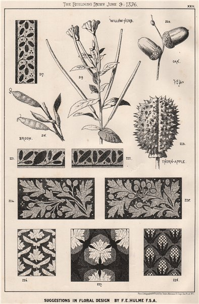Associate Product Suggestions in Floral; design by F.E. Hulme F.S.A.. Botanical (2) 1876 print