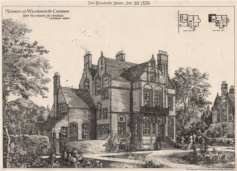 Associate Product Mansion at Wandsworth Common; E.R. Robson, Architect 1876 old antique print