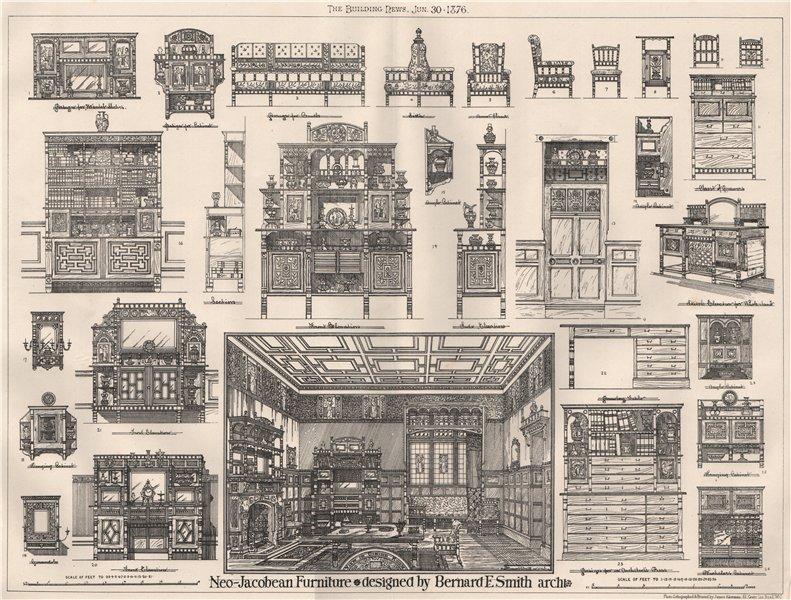 Associate Product Neo-Jacobean furniture; designed by Bernard E. Smith, Architect. Design 1876