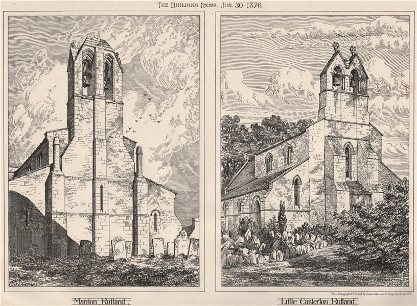 Associate Product Manton, Rutland; Little Casterton, Rutland 1876 old antique print picture