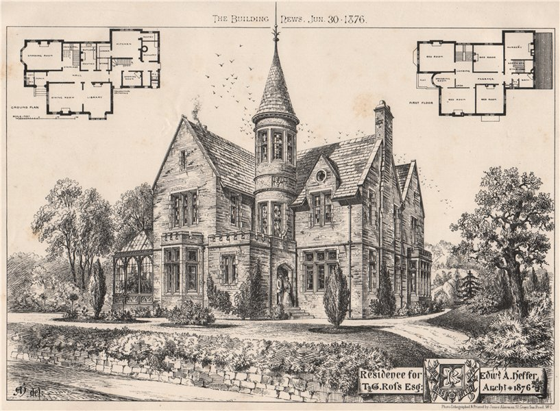 Associate Product Residence for T.G. Ross Esq; Edwd. A. Hesser, Architect 1876. Buildings 1876