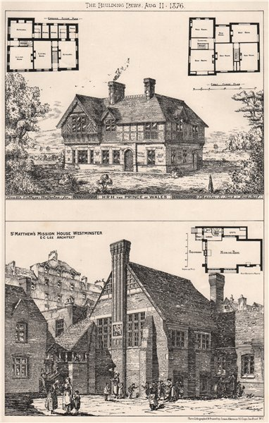 Associate Product Cottages, Wolferton. St. Matthew's Mission House, Westminster 1876 old print