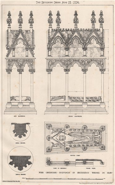 Associate Product York Cathedral, monument of Archbishop Walter de Gray. Yorkshire 1876 print