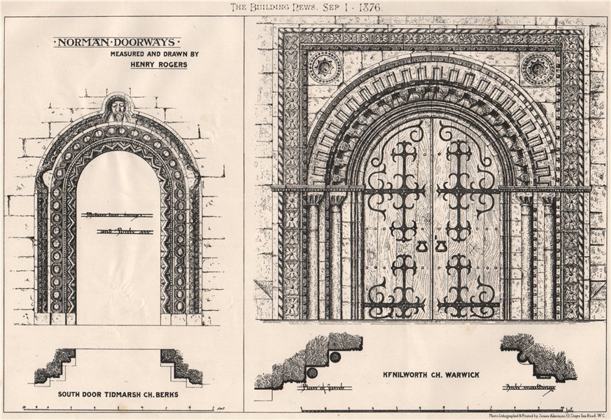 Associate Product Norman doorways. England 1876 old antique vintage print picture