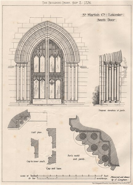 Associate Product St. Martin's ch., Leicester, south door. Leicestershire 1876 old antique print
