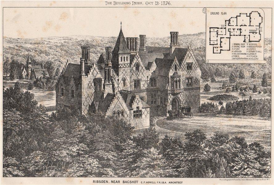 Associate Product Ribsden, near Bagshot; C.F. Howell F.R.I.B.A., Architect. Surrey 1876 print