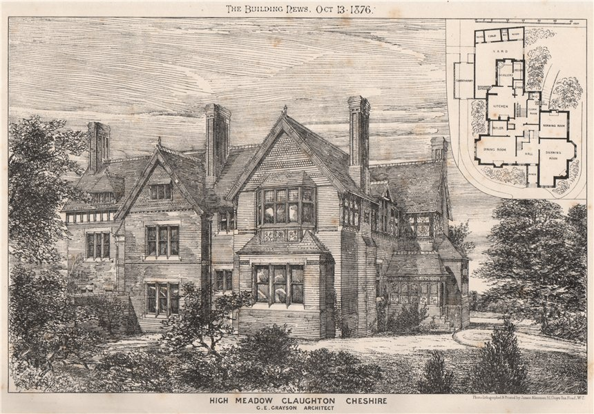 High Meadow, Claughton, Cheshire; G.E. Grayson, Architect 1876 old print