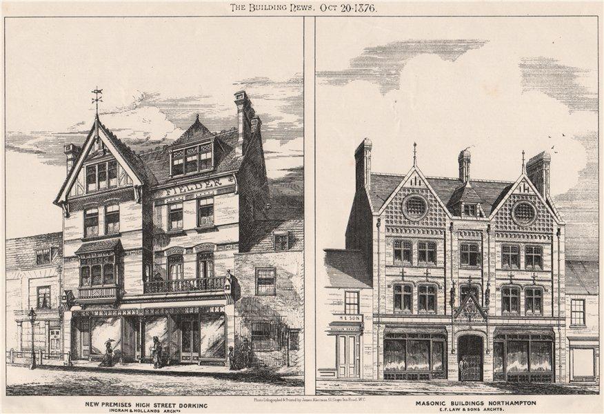 New premises, High Street, Dorking; Masonic buildings, Northampton 1876 print