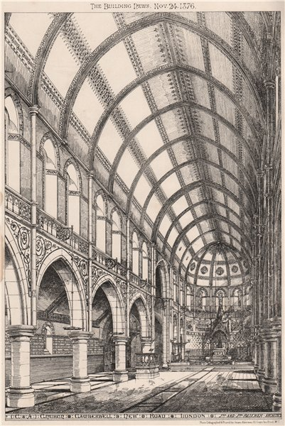 Associate Product Church, Camberwell New Road, London; Jno. Belcher, Architects 1876 old print