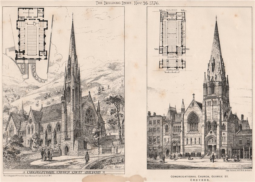 Associate Product Congregational Churches in Malvern & George St., Croydon 1876 old print