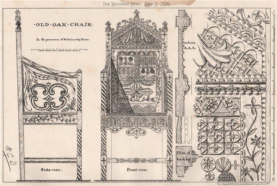Associate Product Old oak chair. Design 1876 antique vintage print picture