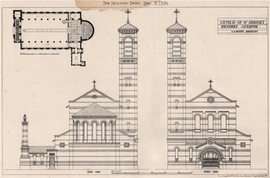 Associate Product Church of St. Bridget, Wavertree, Liverpool; E.A. Heffer, Architect 1876 print