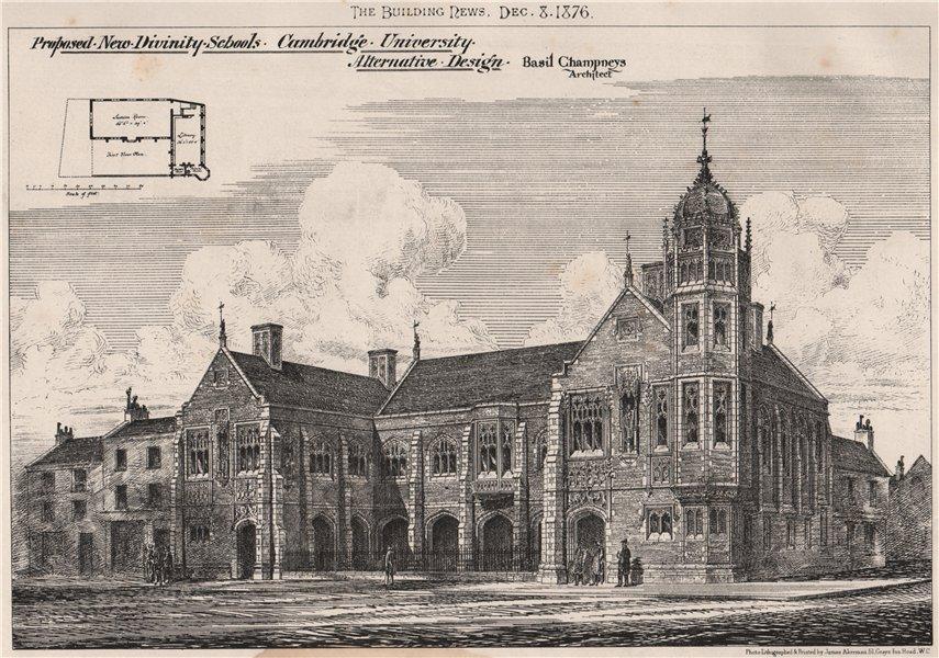 New divinity schools, Cambridge University; Basil Champneys Archt 1876 print