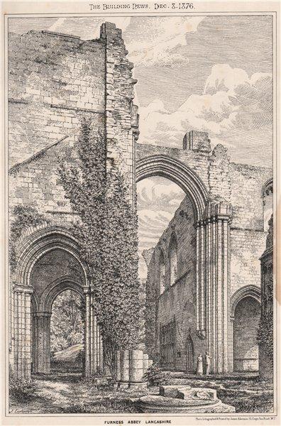 Associate Product Furness Abbey, Lancashire. Cumbria 1876 old antique vintage print picture
