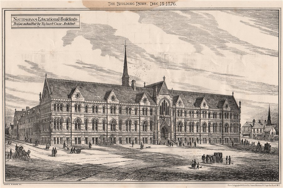 Associate Product Nottingham Educational Buildings; design submitted by Richard Gane Archt 1876