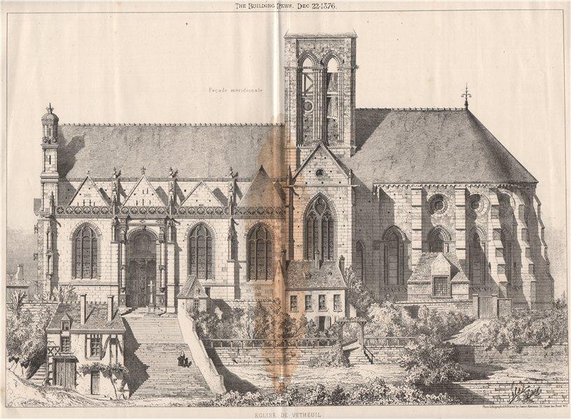 Associate Product Église de Vetheuil. Val-d'Oise 1876 old antique vintage print picture