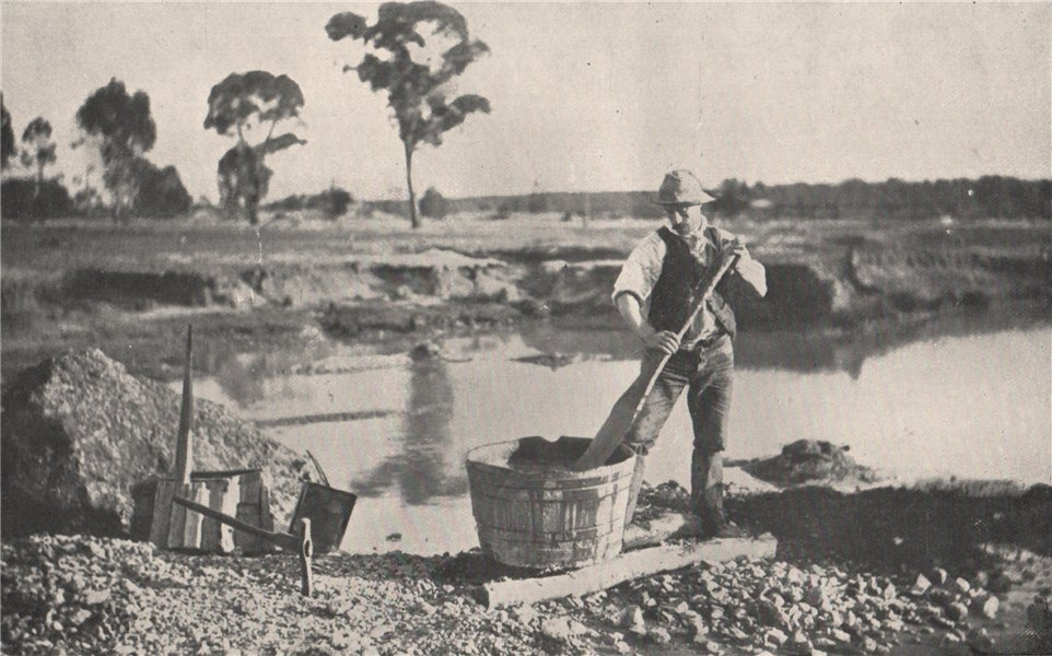 Associate Product Alluvial Mining - Puddling and Tubbing. Victoria, Australia. 1909 old print