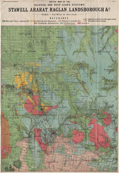 Associate Product Stawell Ararat Raglan Landsborough. Alluvial & deep leads. Victoria 1909 map
