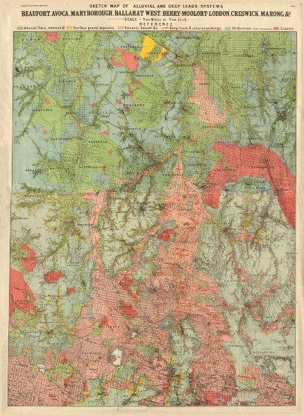 Beaufort Avoca Maryborough Ballarat West Berry-Moolort-Loddon Creswick 1909 map