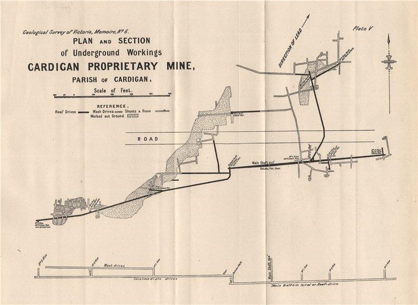 Associate Product Cardigan Proprietary Mine, Cardigan. Victoria, Australia. Mining 1909 old map