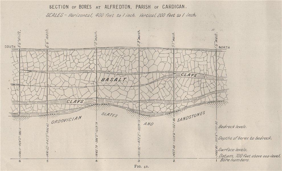 Associate Product Bores at Alfredton, Cardigan. Victoria, Australia. Mining 1909 old antique map
