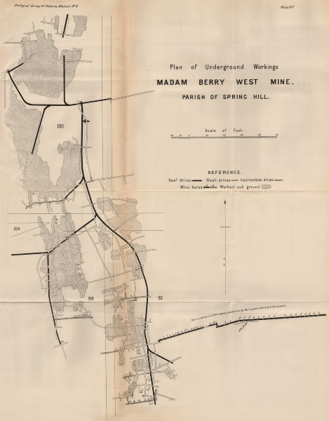 Associate Product Madam Berry West Mine, Spring Hill. Victoria, Australia. Mining 1909 old map