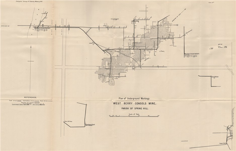 Associate Product West Berry Consols Mine, Spring Hill. Victoria, Australia. Mining 1909 old map