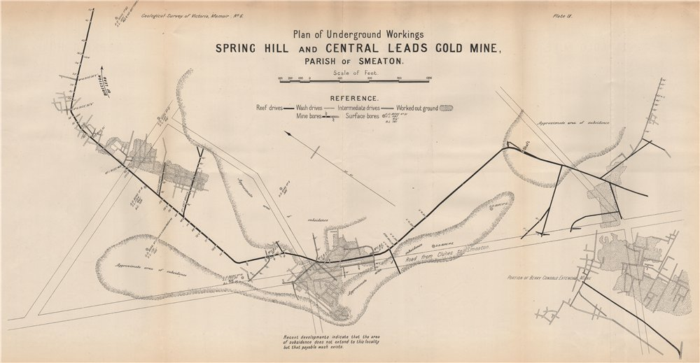 Associate Product Spring Hill and Central Leads Gold Mine, Smeaton. Victoria, Australia 1909 map