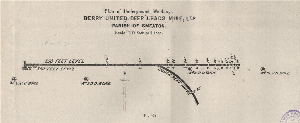Associate Product Berry United deep Leads Mine, Ltd- Smeaton. Victoria, Australia. Mining 1909 map