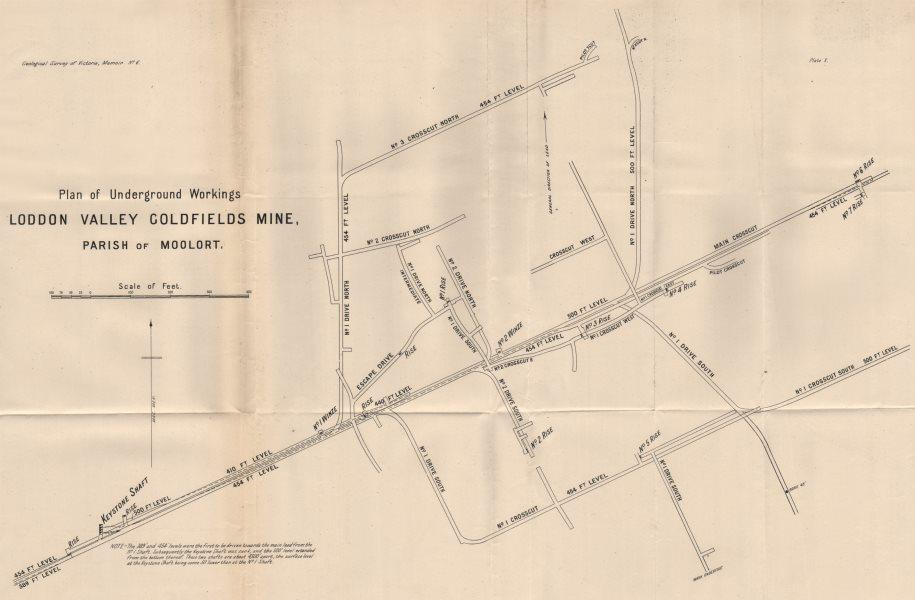 Associate Product Loddon Valley Goldfields Mine, Moolort. Victoria, Australia. Mining 1909 map
