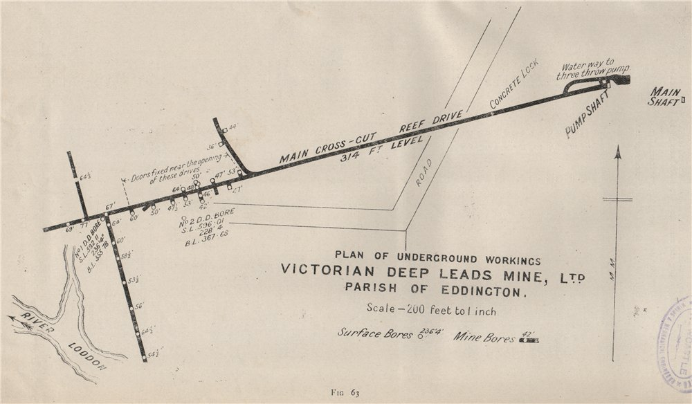 Associate Product Victorian Deep Leads Mine, Ltd. Eddington. Victoria, Australia. Mining 1909 map