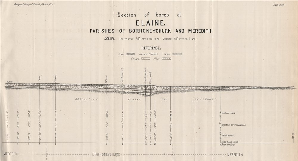 Associate Product Bores at Elaine, Borhoneyghurk & Meredith. Victoria, Australia. Mining 1909 map